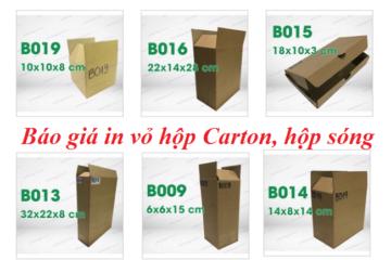 Báo giá in hộp carton, vỏ hộp sóng chỉ từ 1000đ – Giá rẻ nhất thị trường